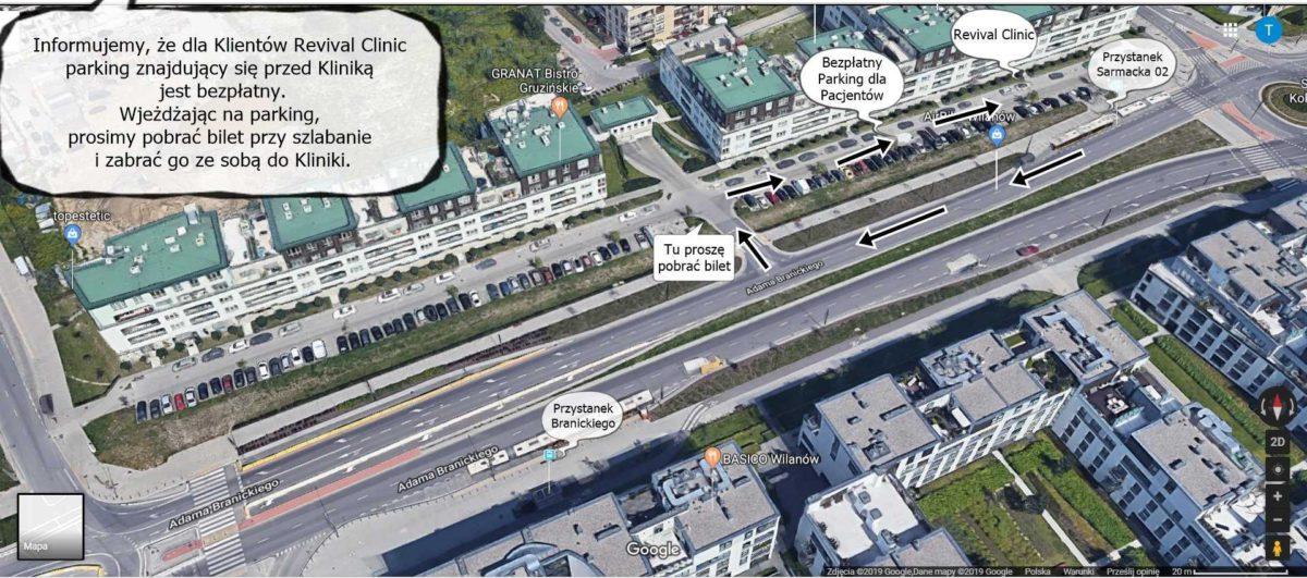 Jak dojechać do kliniki medycyny estetycznej i laseroterapii w Warszawie w Wilanowie Revival Clinic